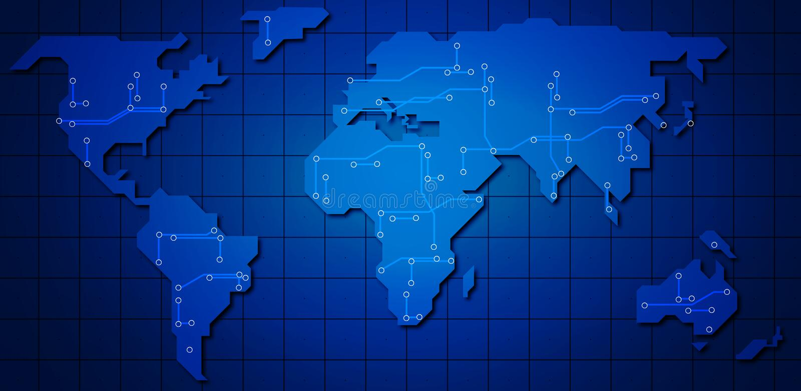 Download World map stock illustration. Image of network, circuit - 2306279