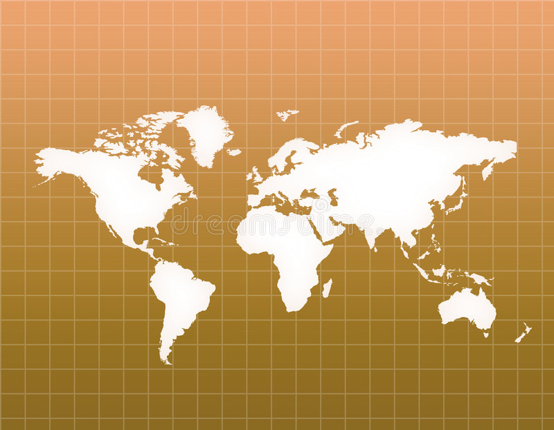 World Map. Copper color World map illustration with grids stock illustration