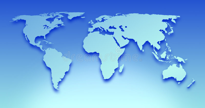 World Map. Blue Illustration of World Map