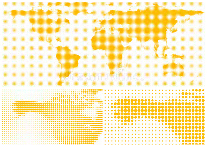 World Map. Dot matrix world map illustration stock illustration