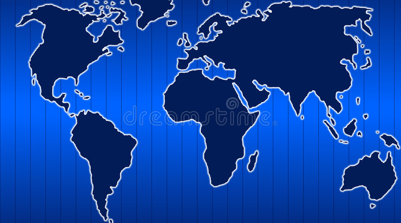 World map. Technology style in blue colors vector illustration
