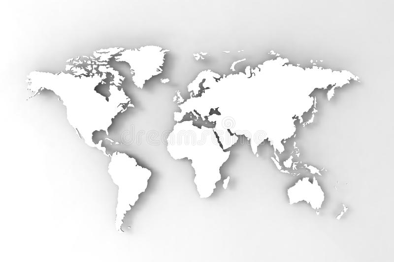 World Map, 3D Render Royalty Free Stock Images