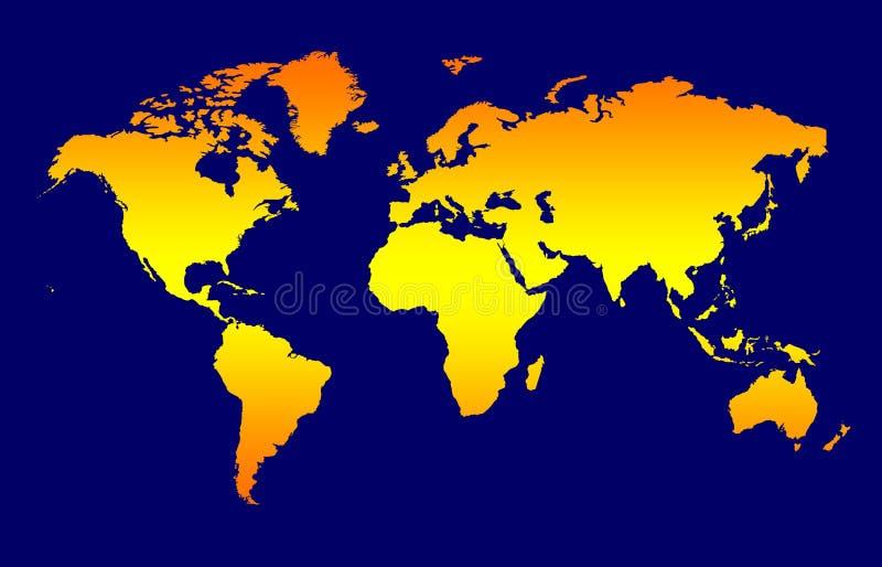 World Map. Background, Orange Gradient Continents On Dark Blue stock illustration