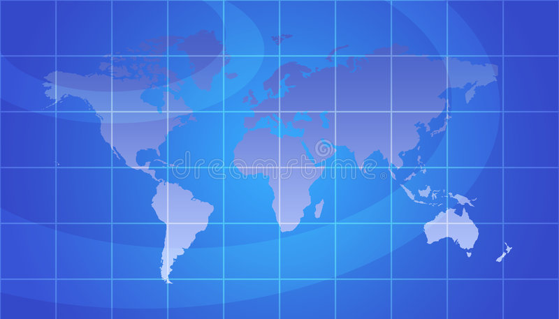 World Map. With Grid - Global Concept In Blue stock illustration