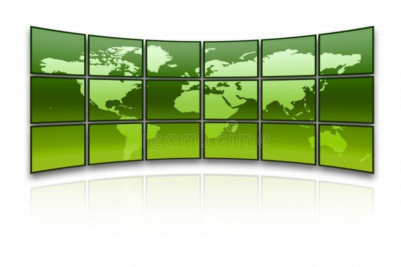 World map. On a huge green screen