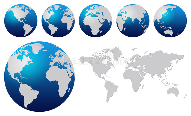 World map. And blue world globes isolated on white
