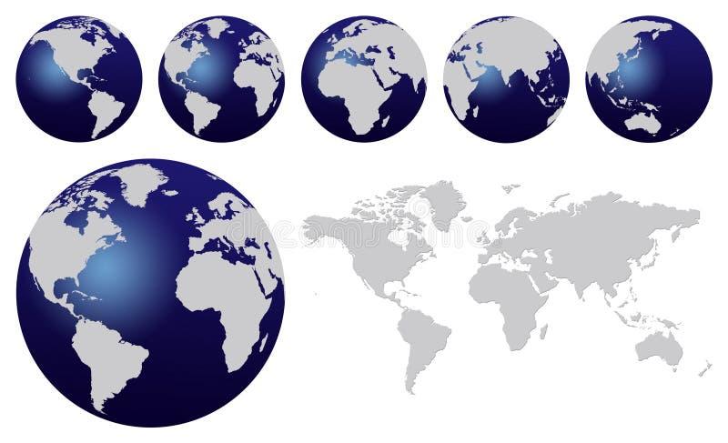 World map. And dark blue world globes isolated on white