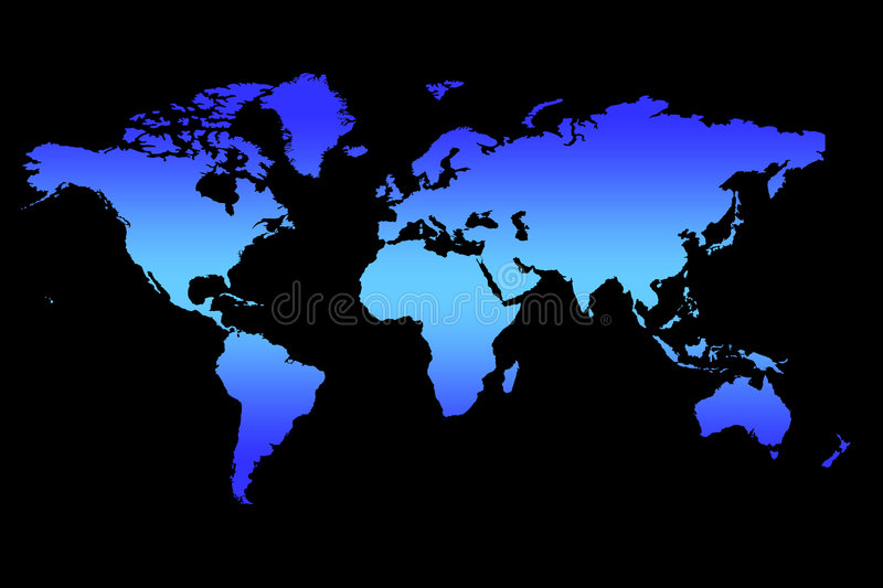 World Map. Background, Blue Gradient Continents On Black stock illustration