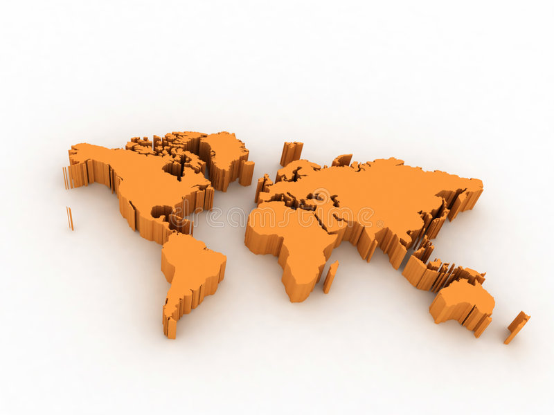 World map. 3D abstract background