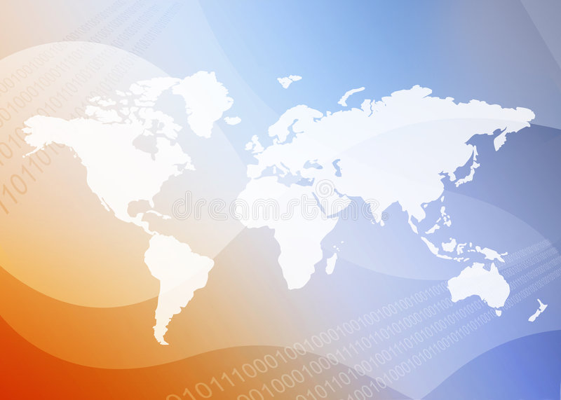 World map. White world map on blue and orange binary background illustration. [America, Europe, asia, Africa, Australia stock illustration