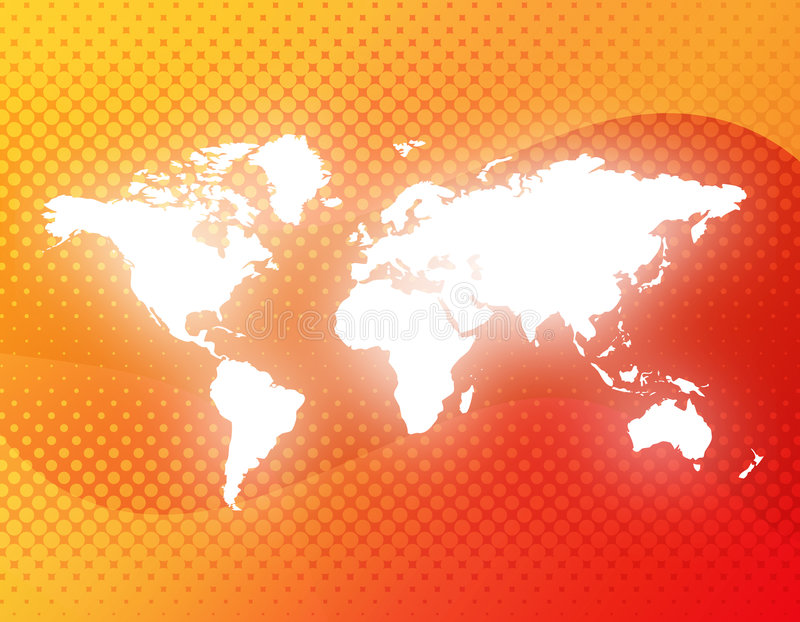 World map. White world map illustration on abstract halftone background. [America, Europe, asia, Africa, Australia stock illustration