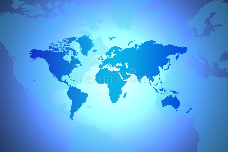 World Map. Global Concept In Blue With Spotlight In Centre vector illustration