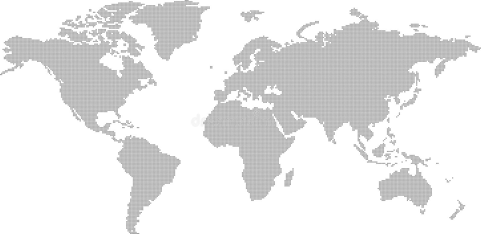 World map. Dotted black and white world map