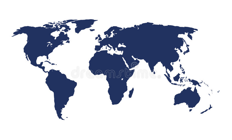 World map. An illustration of the world map in blue stock illustration