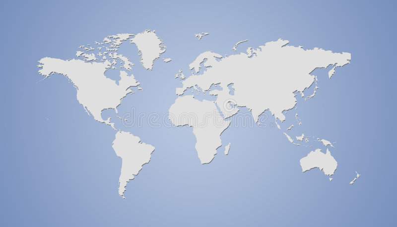 World map. Grey continents on blue background