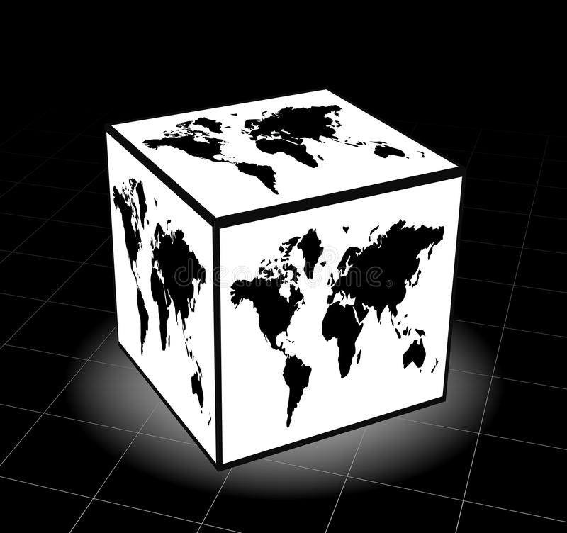 World map. Vector illustration of world map cube stock illustration