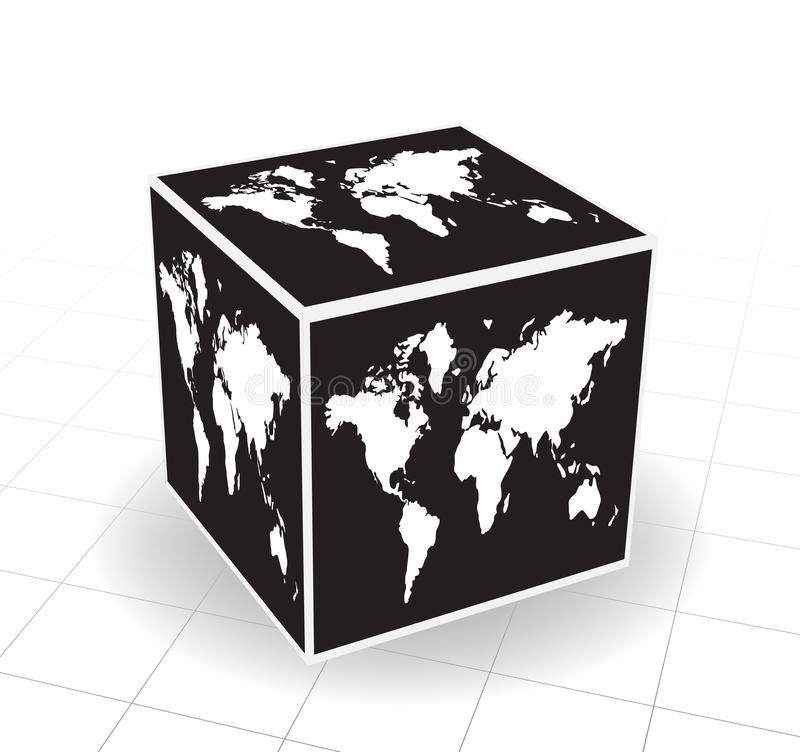 World map. Vector illustration of world map cube vector illustration