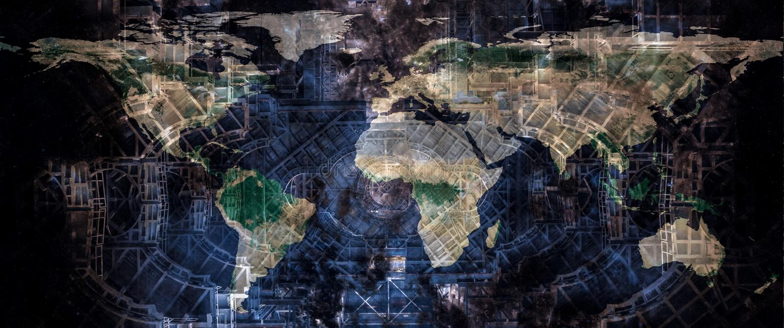 World map on the abstract futuristic construction design structure background. Techno world concept. World map on the abstract futuristic construction design stock photography
