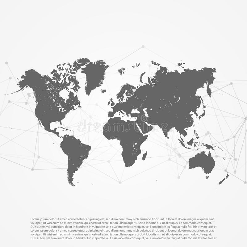 World Map with Abstract Network Mesh - Digital Internet Things o royalty free illustration