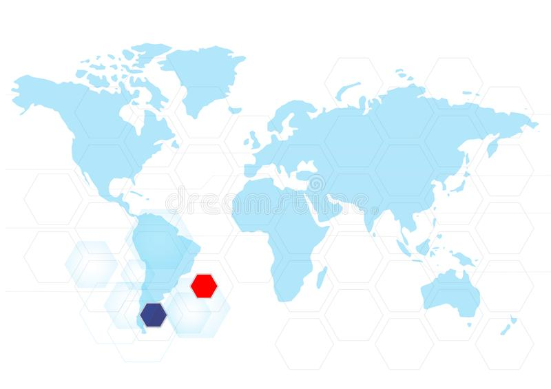 World map abstract technology vector background. General illustration stock illustration