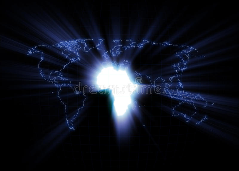World Map - Africa. World map with Africa glowing