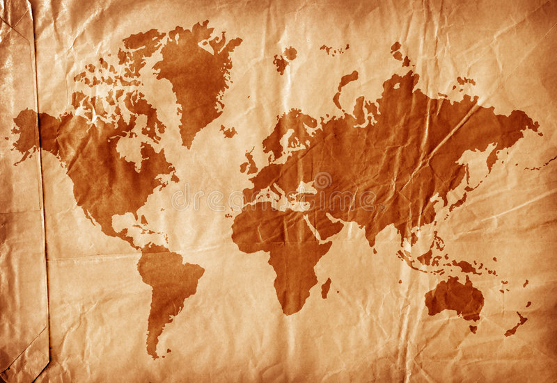 World map on aged paper vector illustration