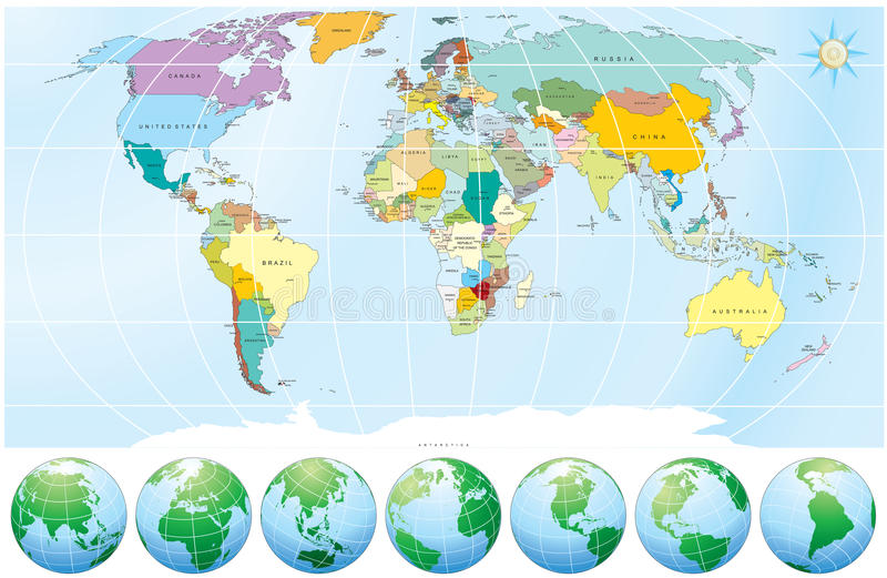 World map with all capitalscountries stock vector illustration of detailed world map with all names of countries and capitals individual drawn objects easy editable colors gumiabroncs Choice Image
