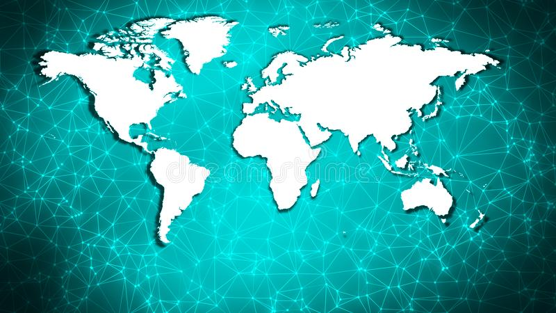 World map art polygonal connection structure. Connected dots with lines and graphic world map, creative abstract background. Global business or digital royalty free stock photos