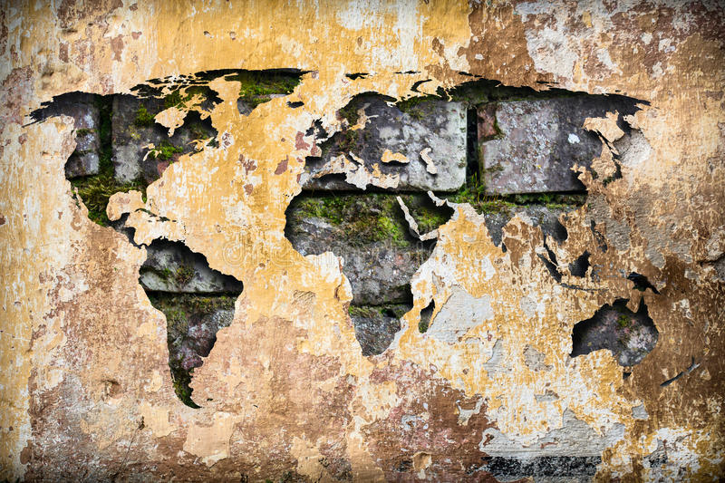World map as a crack in old ruined vintage wall stock photo image download world map as a crack in old ruined vintage wall stock photo image gumiabroncs Gallery