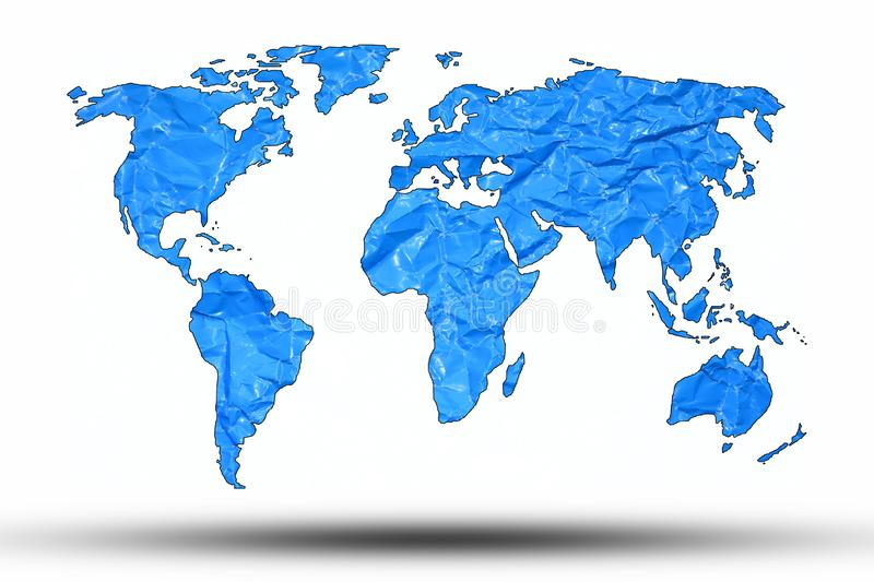 World map with a background of memorable paper, blue vector illustration