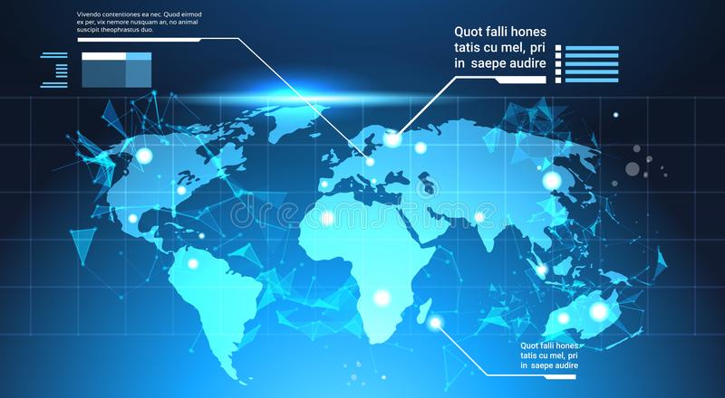 World Map Background, Set Of Computer Futuristic Infographic Elements Tech Template Charts And Graph, Banner With Copy vector illustration