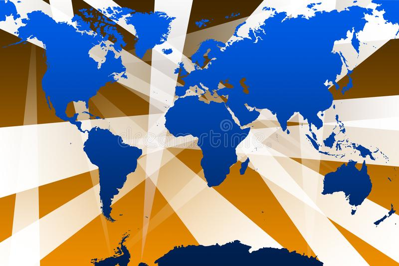 World map with beams stock photo