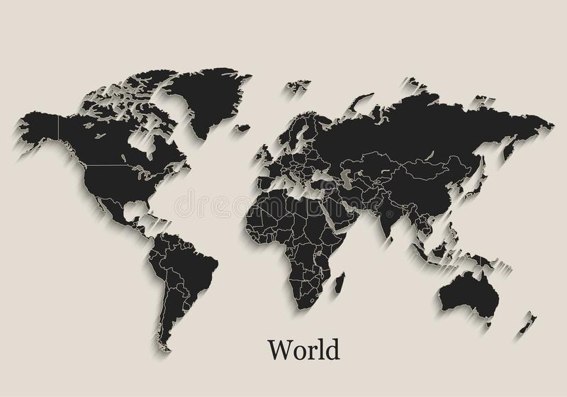 World map Black blackboard separate states individual. Vector royalty free illustration