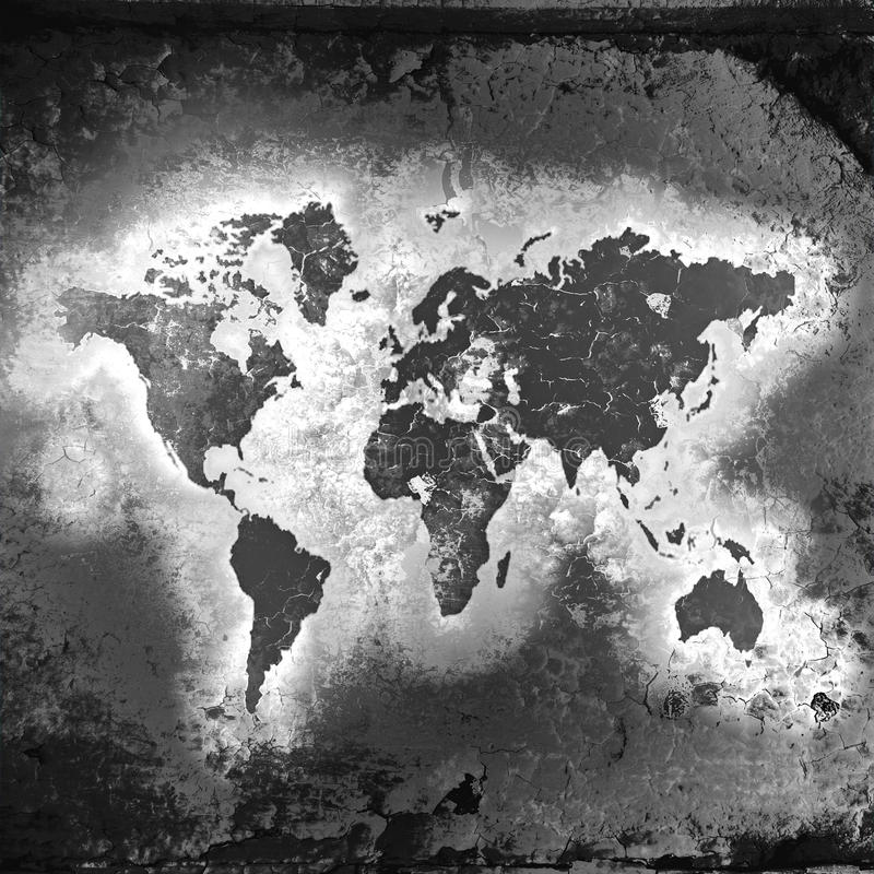 Download The World Map, Black-and-white Tones Royalty Free Stock Image - Image: 22148286