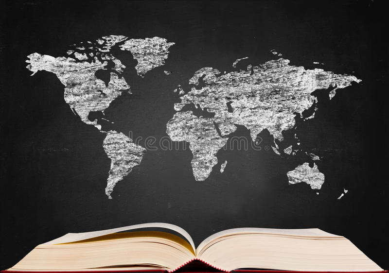 World map on blackboard. Popup from book vector illustration