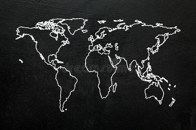 World map on blackboard. Sketch stylized globe map of the world with all continents. World map on blackboard. Sketch stylized globe map of the world with all stock images