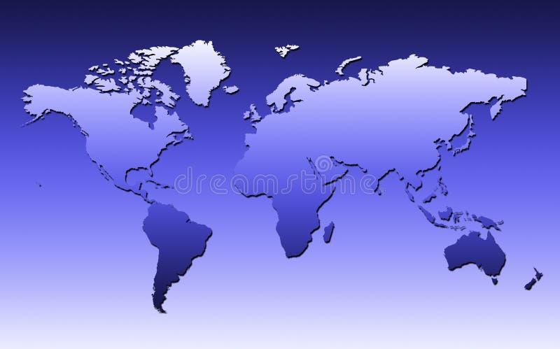 World Map In Blue vector illustration