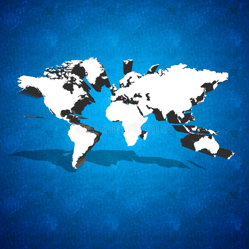World map on blue background. World 3D map with shadow on blue background royalty free stock photo