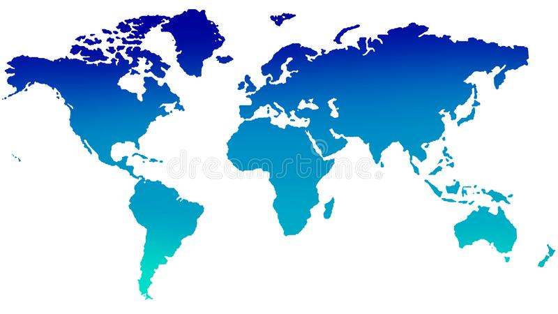 Blue world map on white background stock photography