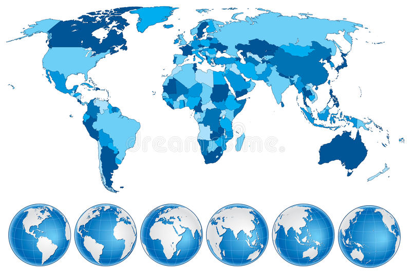World map blue with countries and globes stock vector illustration download world map blue with countries and globes stock vector illustration of africa alaska gumiabroncs Choice Image