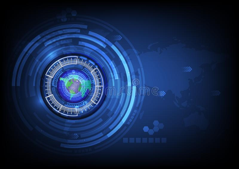 World map blue eye ball abstract cyber future technology concept background. Illustration vector stock illustration