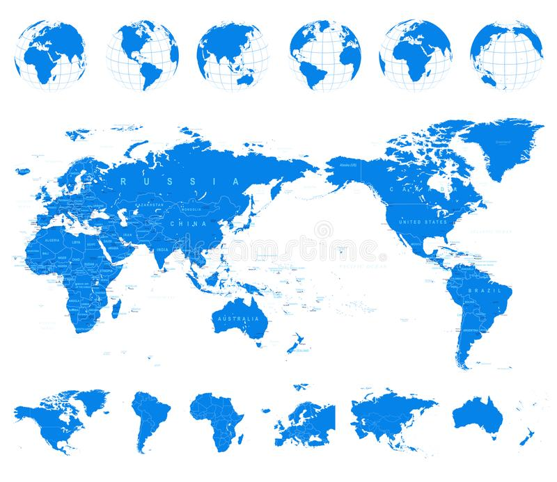 World map blue and globes asia in center stock illustration download world map blue and globes asia in center stock illustration illustration of americas gumiabroncs Images