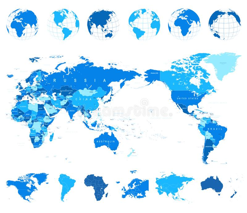 World map blue and globes asia in center stock illustration download world map blue and globes asia in center stock illustration illustration of australia gumiabroncs Images