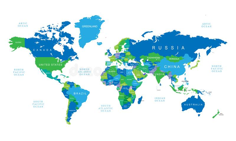 World map with blue and green color countries stock vector download world map with blue and green color countries stock vector illustration of world gumiabroncs Image collections