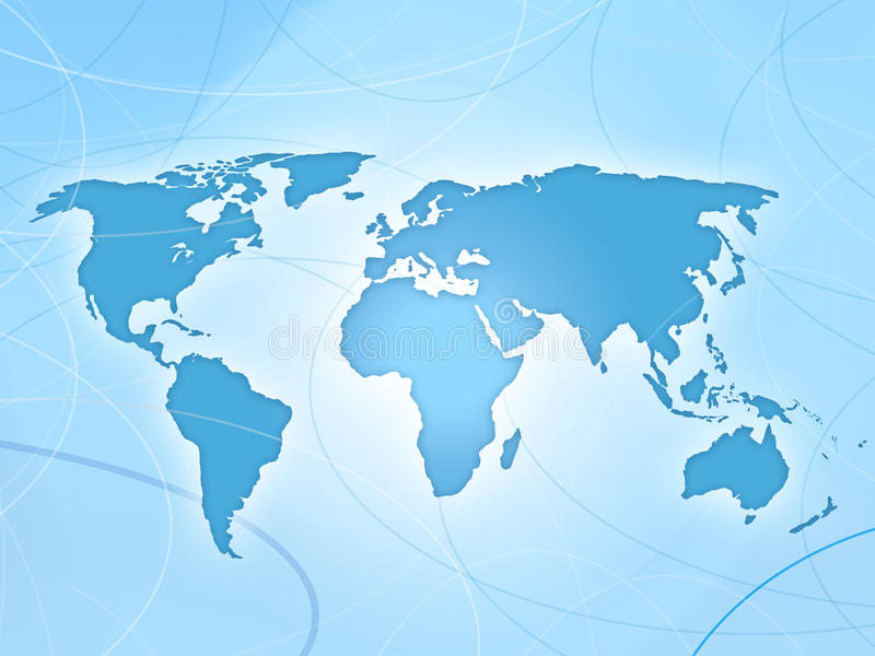 World map blue map. With lines