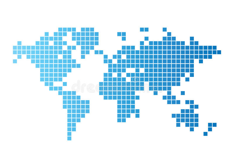 World map of blue tiles. Abstract computer graphic World map of blue tiles. Vector illustration vector illustration