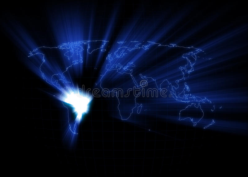 World Map - Brazil. World map with the Brazil glowing with black background royalty free illustration