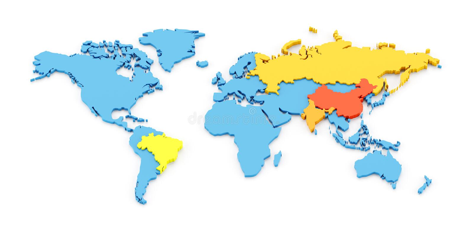 3d map of the fast growing developing economies of brazil russia india and china known as bric