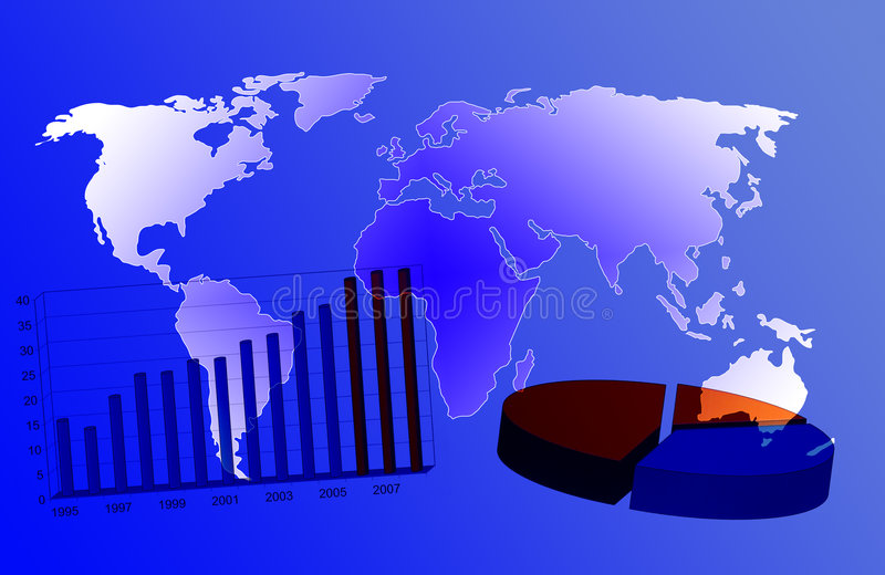 World map and business chart stock illustration
