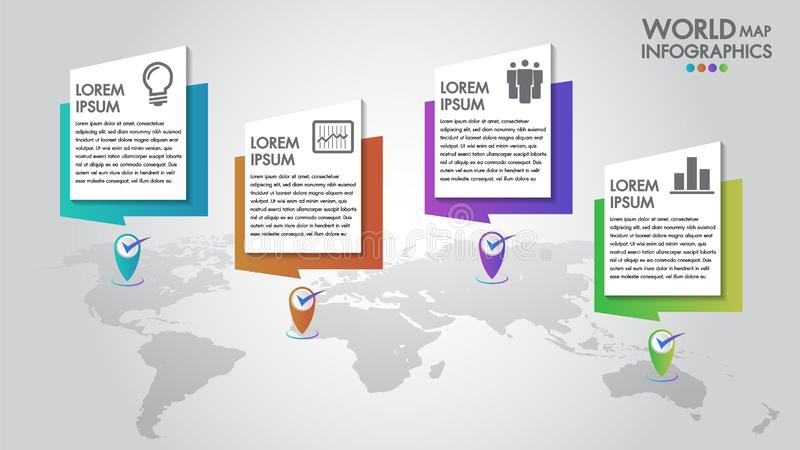 World map business infographics 4 options vector illustration and design template with pointer marks.Can be used for communication stock illustration